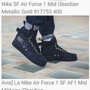 Nike SF Air Force 1 Mid Obsidian Metallic Gold  10